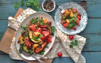 Salade d'automne aux tomates, courges  grillées et dattes deglett + vinaigrette tomatée aux graines de chia et basilic