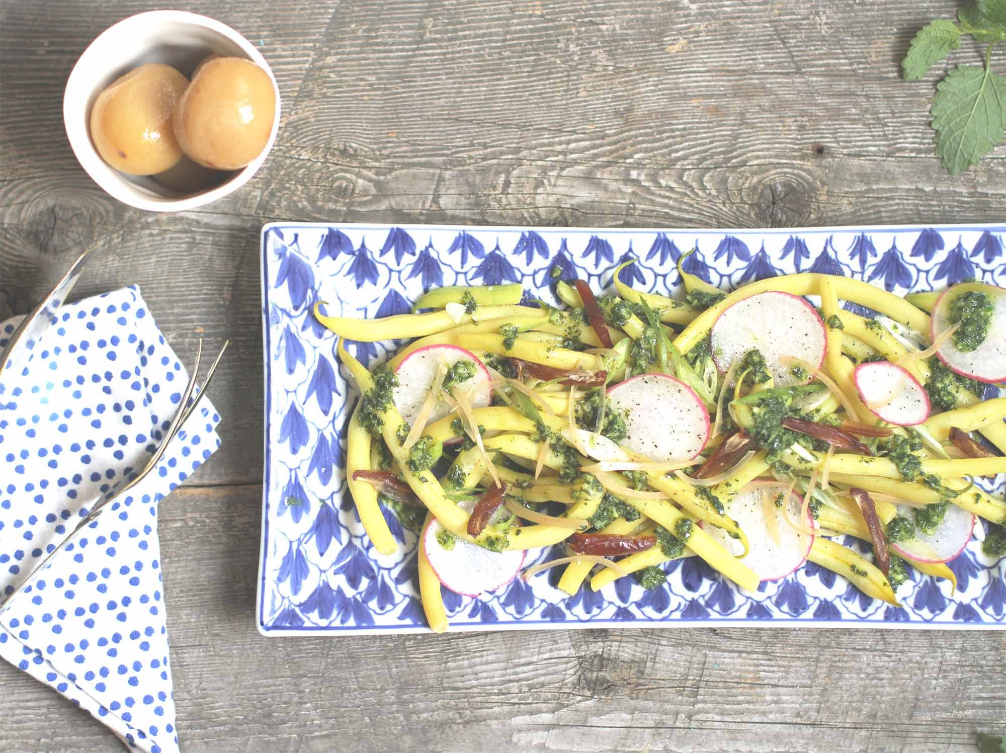salade haricots dattes citron melisse | chantez la pomme