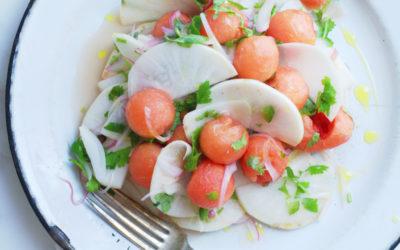 Salade de rabioles, melon d'eau, coriandre & oignons marinés lime et jalapenos